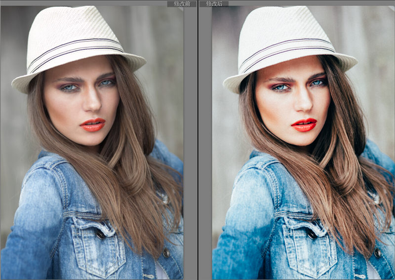 美女人像RAW格式调色对比图