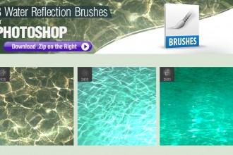 3种水面倒影、水面嶙峋、水纹理Photoshop笔刷素材